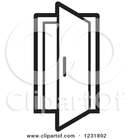 clipart of a black and white open door icon royalty free vector rh clipartof com open and closed door clipart open door slowly clipart