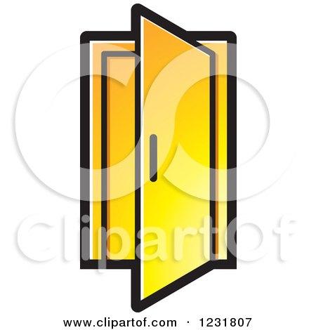 Open Door Icon Vector Yellow Open Door Icon by Lal