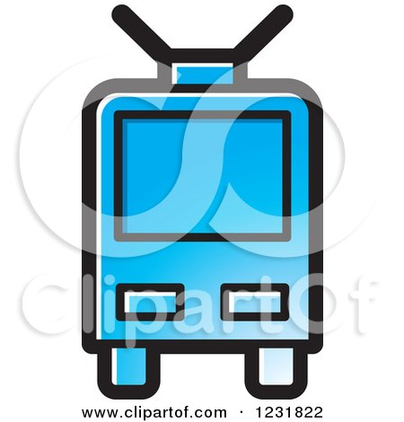 Clipart of a Blue Cable Car Icon - Royalty Free Vector Illustration by Lal Perera