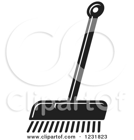 Clipart of a Black and White Push Broom Icon - Royalty Free Vector Illustration by Lal Perera