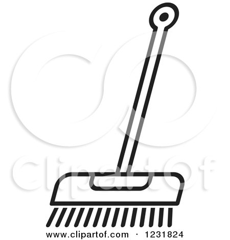 Clipart of a Black and White Outlined Push Broom Icon - Royalty Free Vector Illustration by Lal Perera