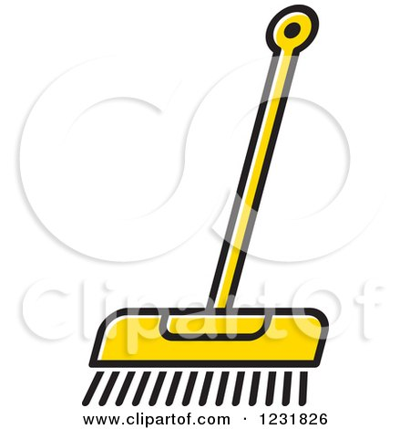 Clipart of a Yellow Push Broom Icon - Royalty Free Vector Illustration by Lal Perera