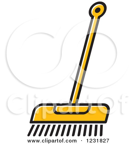 Clipart of an Orange Push Broom Icon - Royalty Free Vector Illustration by Lal Perera