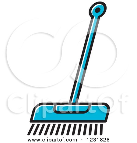 Clipart of a Blue Push Broom Icon - Royalty Free Vector Illustration by Lal Perera