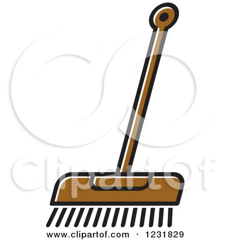 Clipart of a Brown Push Broom Icon - Royalty Free Vector Illustration by Lal Perera