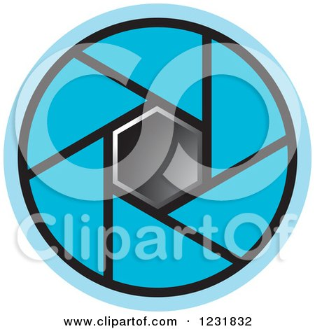Clipart of a Blue Photography Lens Aperture Icon - Royalty Free Vector Illustration by Lal Perera