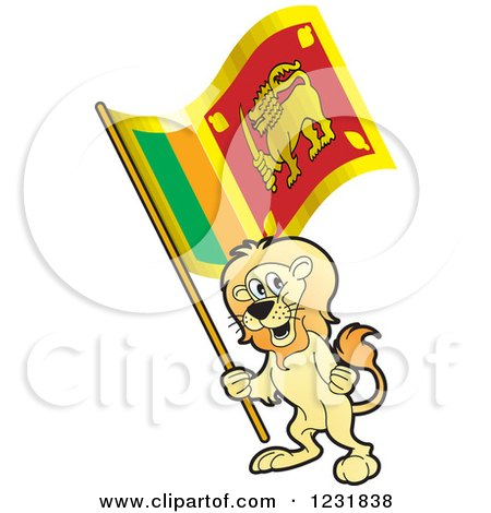Clipart of a Patriotic Lion Holding a Sri Lanka Flag - Royalty Free Vector Illustration by Lal Perera