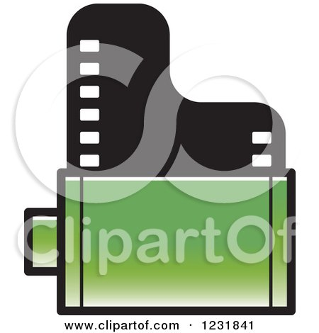 Clipart of a Green Film Roll Icon - Royalty Free Vector Illustration by Lal Perera