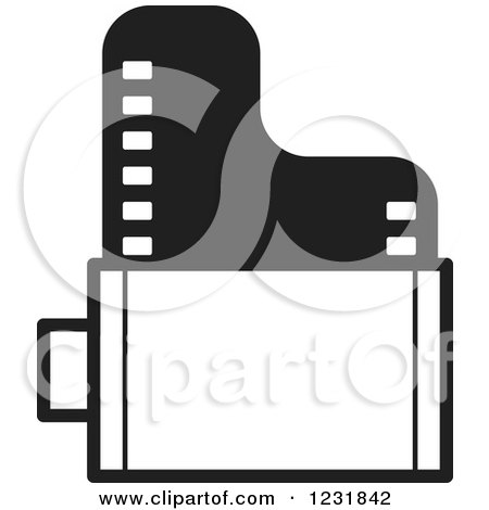 Clipart of a Black and White Film Roll Icon - Royalty Free Vector Illustration by Lal Perera