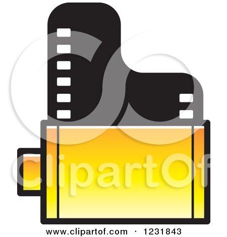 Clipart of a Yellow Film Roll Icon - Royalty Free Vector Illustration by Lal Perera