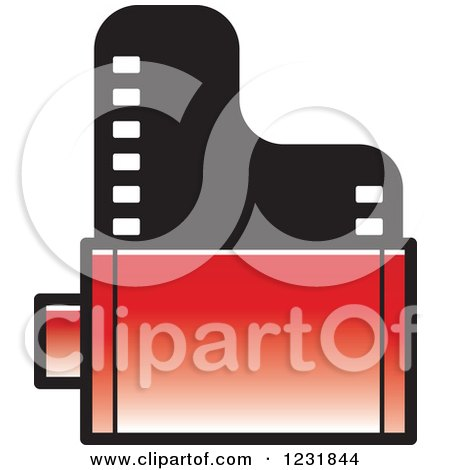 Clipart of a Red Film Roll Icon - Royalty Free Vector Illustration by Lal Perera