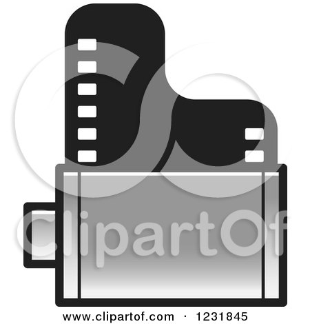 Clipart of a Silver Film Roll Icon - Royalty Free Vector Illustration by Lal Perera