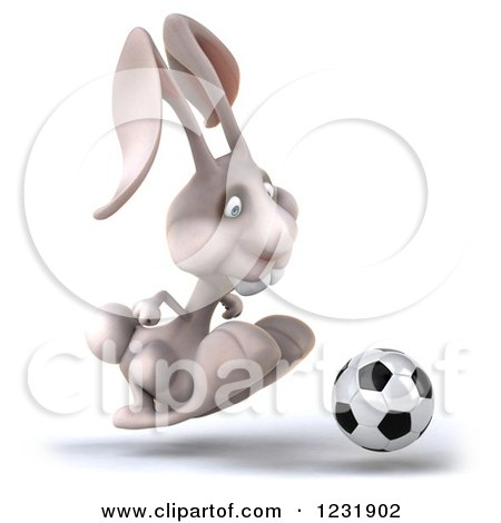 Clipart of a 3d White Rabbit Playing Soccer 4 - Royalty Free Illustration by Julos