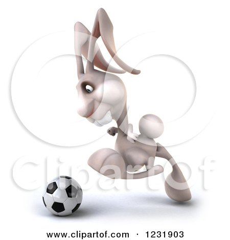 Clipart of a 3d White Rabbit Playing Soccer 5 - Royalty Free Illustration by Julos