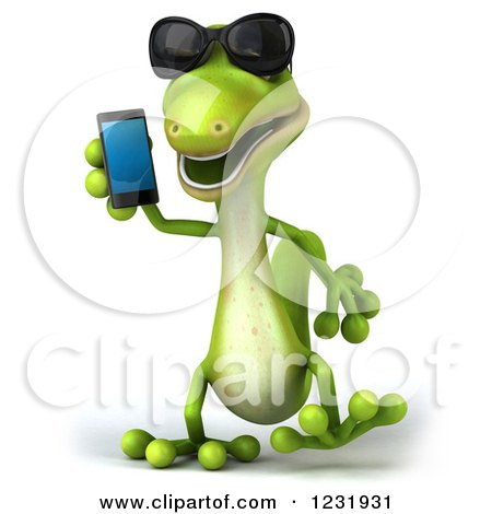 Clipart of a 3d Green Gecko Wearing Sunglasses and Talking on a Smart Phone - Royalty Free Illustration by Julos