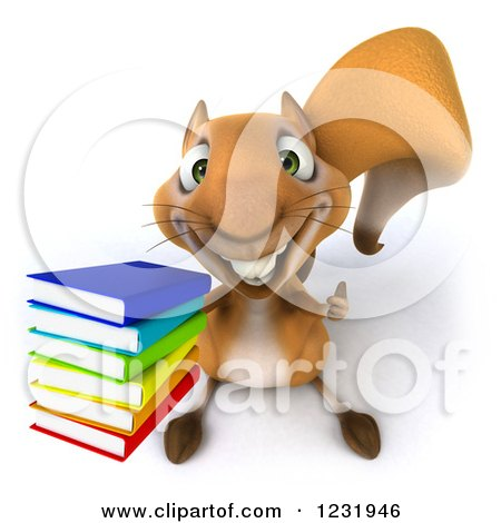 Clipart of a 3d Squirrel Holding a Thumb up and a Stack of Books - Royalty Free Illustration by Julos