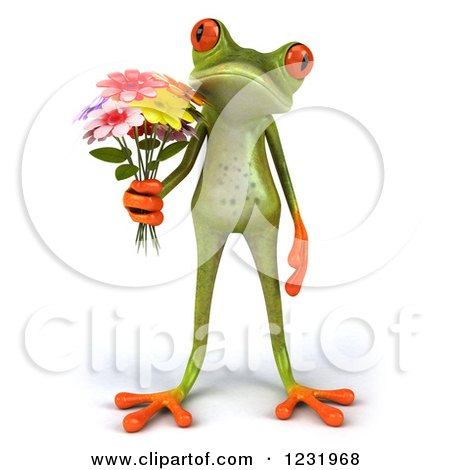 Clipart of a 3d Romantic Springer Frog Holding a Bouquet of Flowers - Royalty Free Illustration by Julos