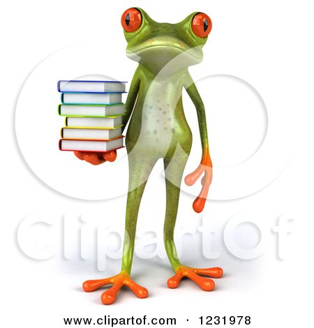Clipart of a 3d Springer Frog Standing with a Stack of Books - Royalty Free Illustration by Julos