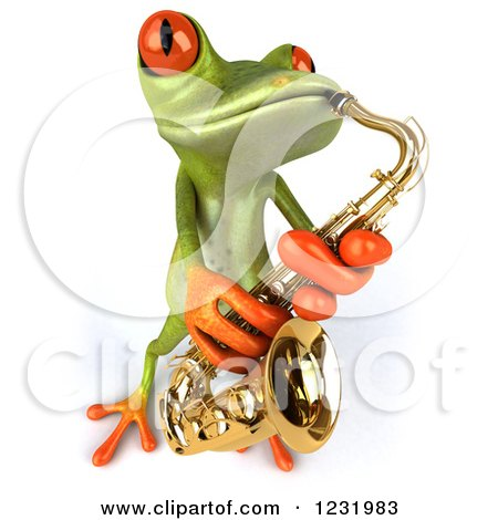 Clipart of a 3d Green Springer Frog Playing a Saxophone 4 - Royalty Free Illustration by Julos