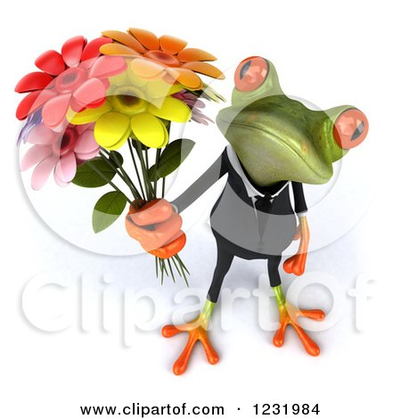 Clipart of a 3d Romantic Formal Springer Frog Holding a Bouquet of Flowers - Royalty Free Illustration by Julos