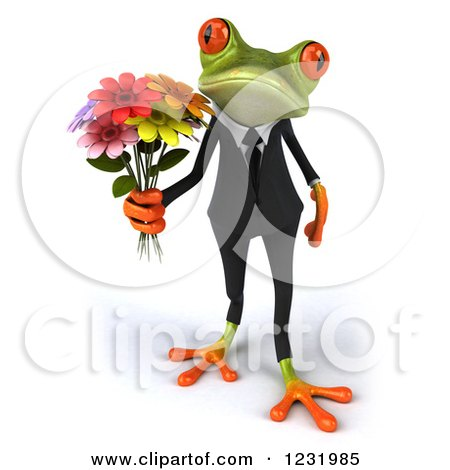 Clipart of a 3d Romantic Formal Springer Frog Holding a Bouquet of Flowers 2 - Royalty Free Illustration by Julos