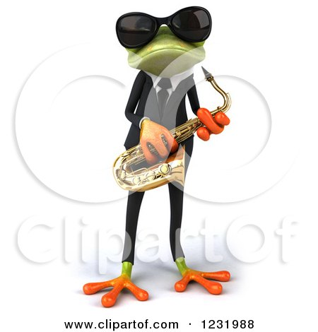 Clipart of a 3d Green Springer Frog Playing a Saxophone in a Suit and Sunglasses - Royalty Free Illustration by Julos