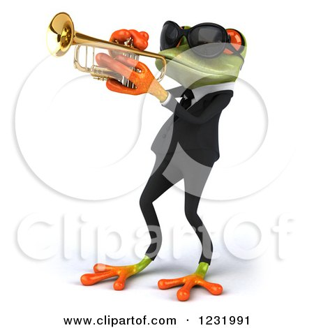 Clipart of a 3d Green Springer Frog Playing a Saxophone in a Suit and Sunglasses 4 - Royalty Free Illustration by Julos