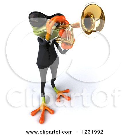 Clipart of a 3d Green Springer Frog Playing a Saxophone in a Suit and Sunglasses 5 - Royalty Free Illustration by Julos