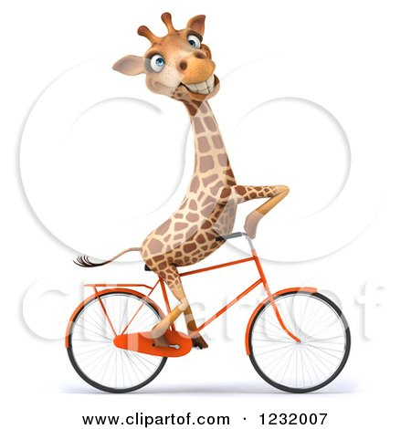 Clipart of a 3d Happy Giraffe Riding a Bicycle 2 - Royalty Free Illustration by Julos