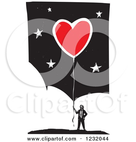 Clipart of a Woodcut Businessman with a Red Heart Balloon over Clouds and Stars - Royalty Free Vector Illustration by xunantunich