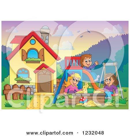 Clipart of Happy Children Playing on a Swing Slide and in a Sandbox in a Yard by a Home - Royalty Free Vector Illustration by visekart
