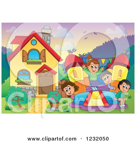 Clipart of Happy Children Playing on a Bouncy House Castle in a Home's Front Yard - Royalty Free Vector Illustration by visekart