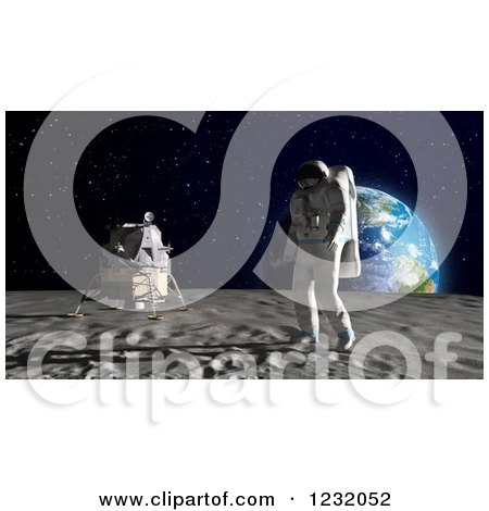 Clipart of a 3d Astronaut Walking on the Moon, with Earth on the Horizon - Royalty Free Illustration by Mopic
