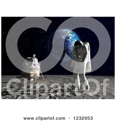 Clipart of a 3d Astronaut Walking on the Moon, with Earth in the Background - Royalty Free Illustration by Mopic