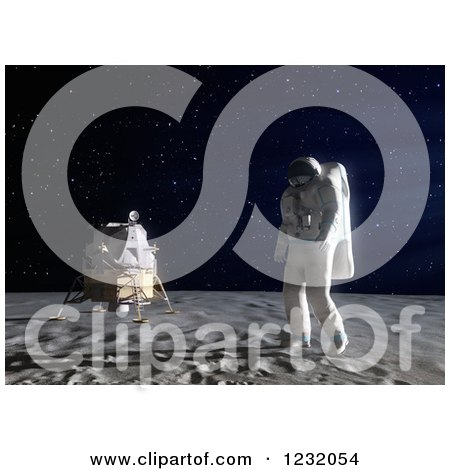 Clipart of a 3d Astronaut Walking on the Moon - Royalty Free Illustration by Mopic