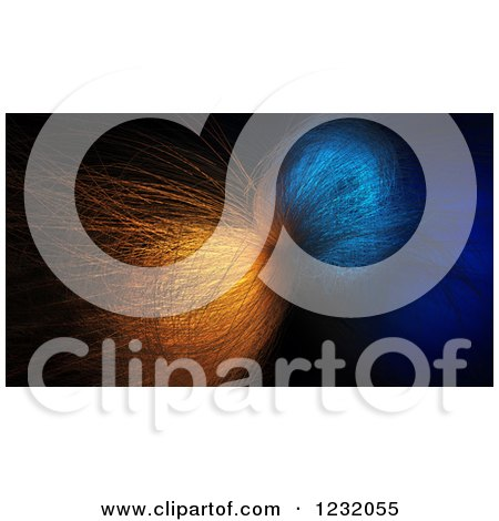 Clipart of a 3d Chaotic Fiber Optics Structure in Blue and Orange - Royalty Free Illustration by Mopic