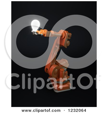 Clipart of a 3d Assembly Robotic Arm Holding a Light Bulb, on Black - Royalty Free Illustration by Mopic