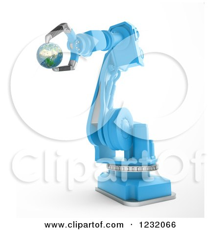 Clipart of a 3d Assembly Robotic Arm Holding Planet Earth, on White - Royalty Free Illustration by Mopic