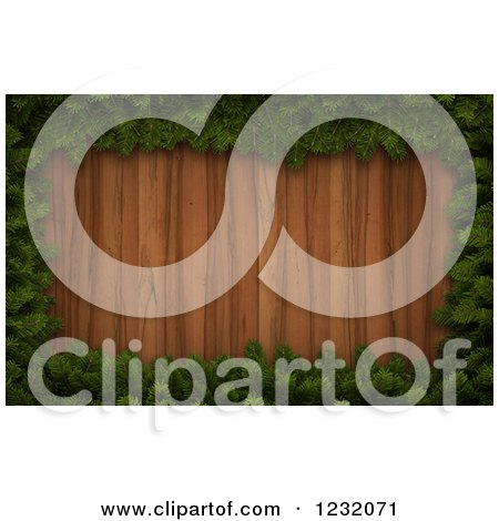 Clipart of a 3d Christmas Border of Pin Boughs Framing Wood - Royalty Free Illustration by Mopic