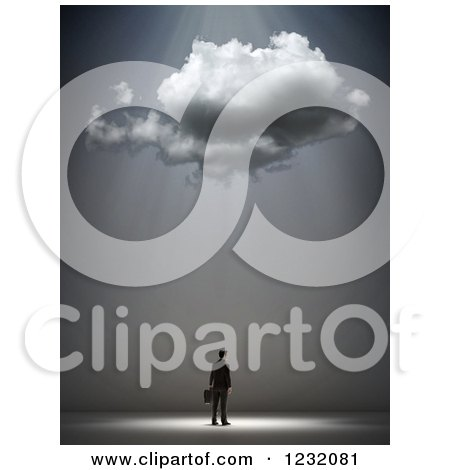 Clipart of a 3d Businessman Under a Cloud and Rays - Royalty Free Illustration by Mopic