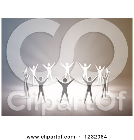 Clipart of a 3d Group of People Holding Their Arms up in Worship Around Light - Royalty Free Illustration by Mopic