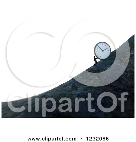 Clipart of a 3d Man Pushing a Giant Clock up a Mountain Side, over White - Royalty Free Illustration by Mopic