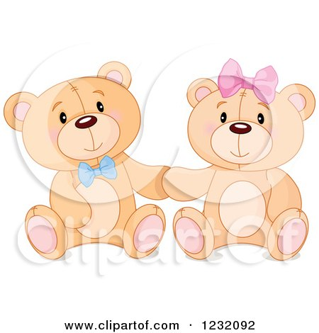 Clipart of a Cute Teddy Bear Couple Sitting and Holding Hands - Royalty Free Vector Illustration by Pushkin