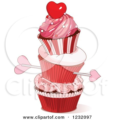 Clipart of Cupids Arrow Through a Stack of Valentine Cupcakes - Royalty Free Vector Illustration by Pushkin