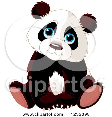 Clipart of a Cute Panda Cub Sitting - Royalty Free Vector Illustration by Pushkin