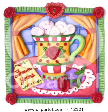 Clay Sculpture Clipart Forever Yours Rose And Coffee Scene - Royalty Free 3d Illustration  by Amy Vangsgard
