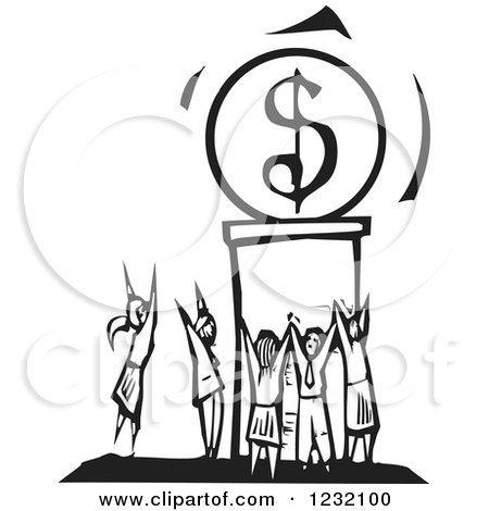 Clipart of a Woodcut Black and White Crowd Worshipping the Dollar - Royalty Free Vector Illustration by xunantunich