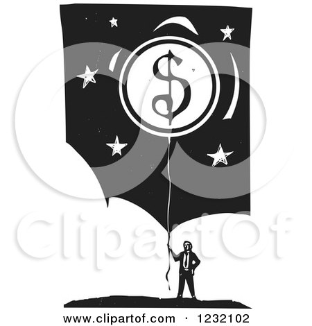 Clipart of a Woodcut Businessman with a Dollar Coin Balloon over Clouds and Stars - Royalty Free Vector Illustration by xunantunich