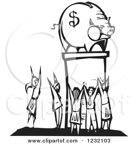 Clipart of a Woodcut Black and White Crowd Worshipping a Piggy Bank with a Dollar Symbol - Royalty Free Vector Illustration by xunantunich