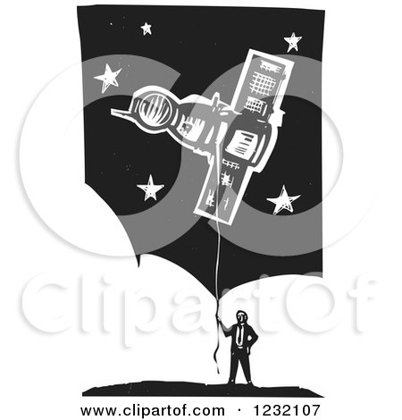 Clipart of a Woodcut Businessman with a Soyuz Balloon over Clouds and Stars - Royalty Free Vector Illustration by xunantunich